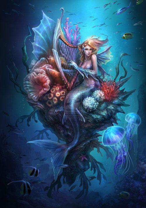 Mermaid harpist