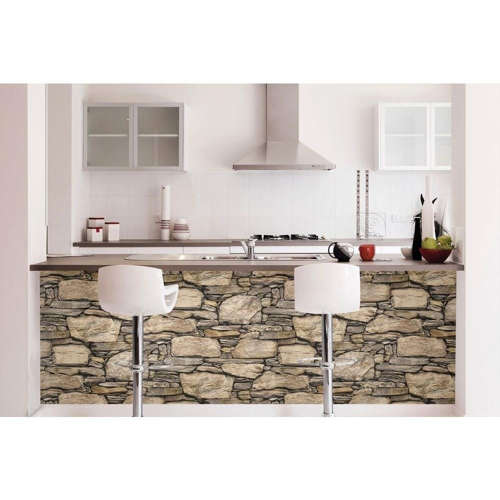 Nuwallpaper Hadrian Stone Wall Peel And Stick Vinyl Strippable Wallpaper Covers 30 75 Sq Ft Nu2065 The Home Depot Peel And Stick Wallpaper Nuwallpaper Stone Wall Design