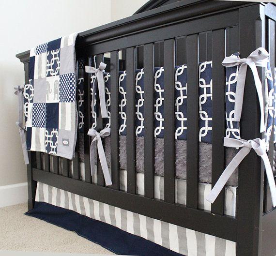 Navy Blue Gray Boy Nursery Bedding Crib Set Modern