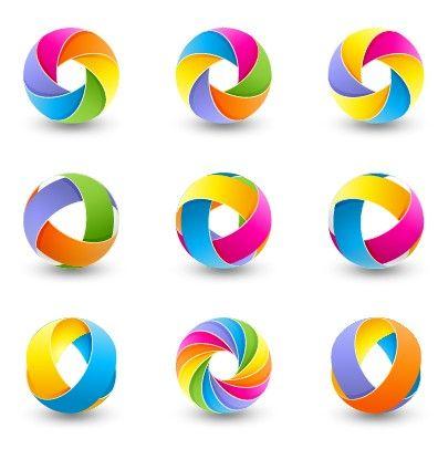 Abstract Colored Spherical Logos Design Vector 03 Logo Design