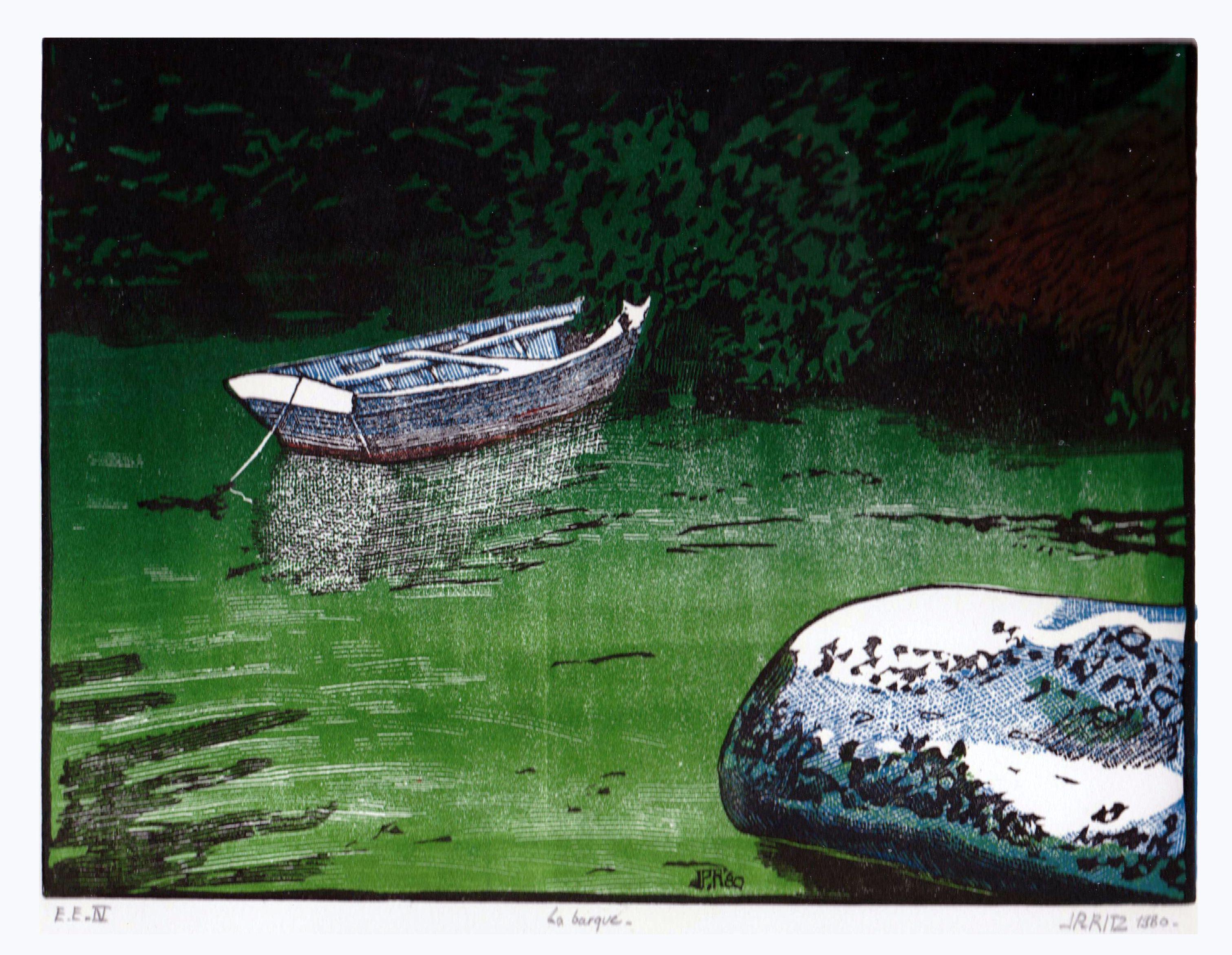 """la barque à brigneau"""" linogravure en couleur avec plusieurs plaques"""