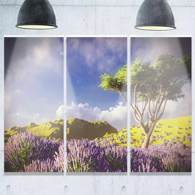 Modern garden wall art  Designart  Bright Lavender Garden Field  Modern Landscape Glossy