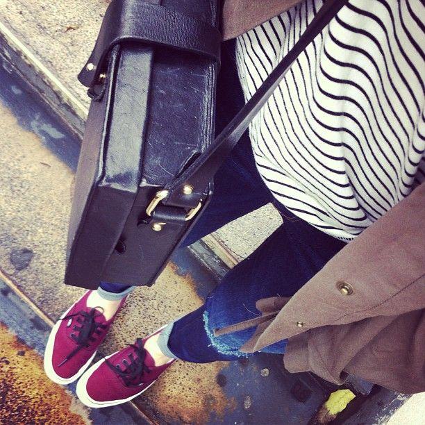 Casual outfit #burgundy #authentic #Vans #stripes #destroy