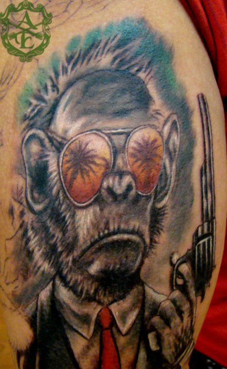 9203edf5a4957 Gangster Monkey Tattoo done by Sean Ambrose at Arrows and Embers Custom  Tattooing