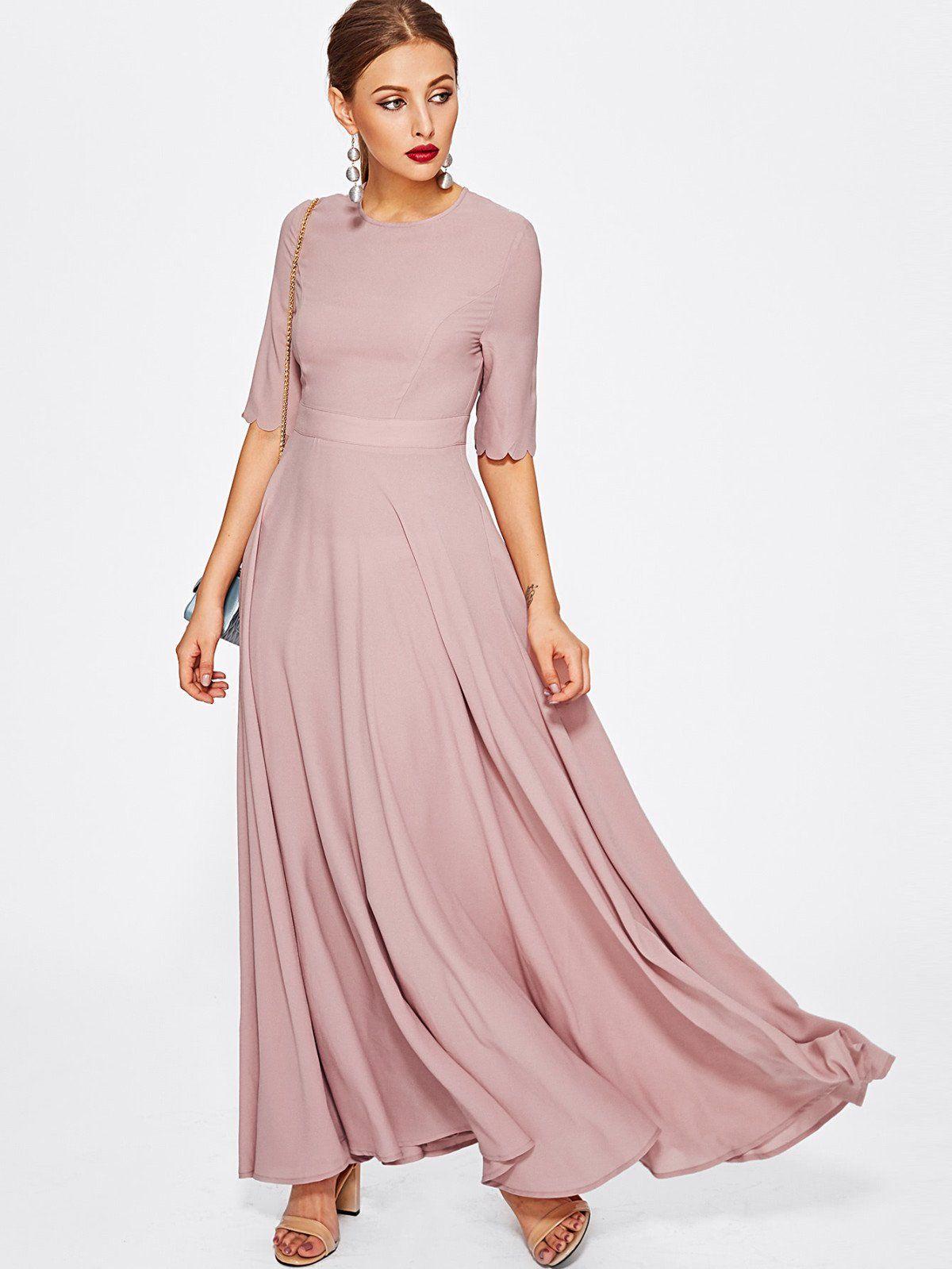 Half Sleeve Fit & Flare Full Length Dress | Full length dresses ...