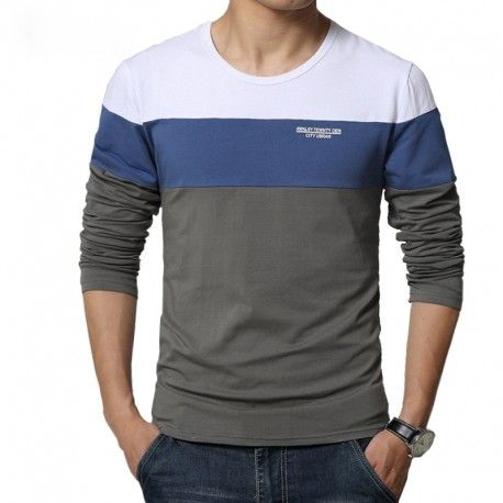 a34243421c Camiseta T Manga Longa Listrada Azul Masculina de Frio Moderna Calitta