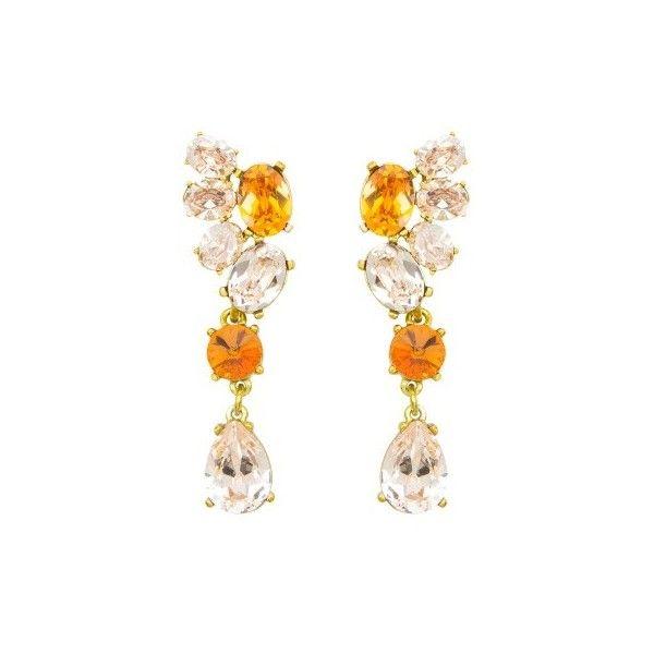 Oscar De La Renta Brushed Swarovski Crystal Clip-On Earrings SbD62