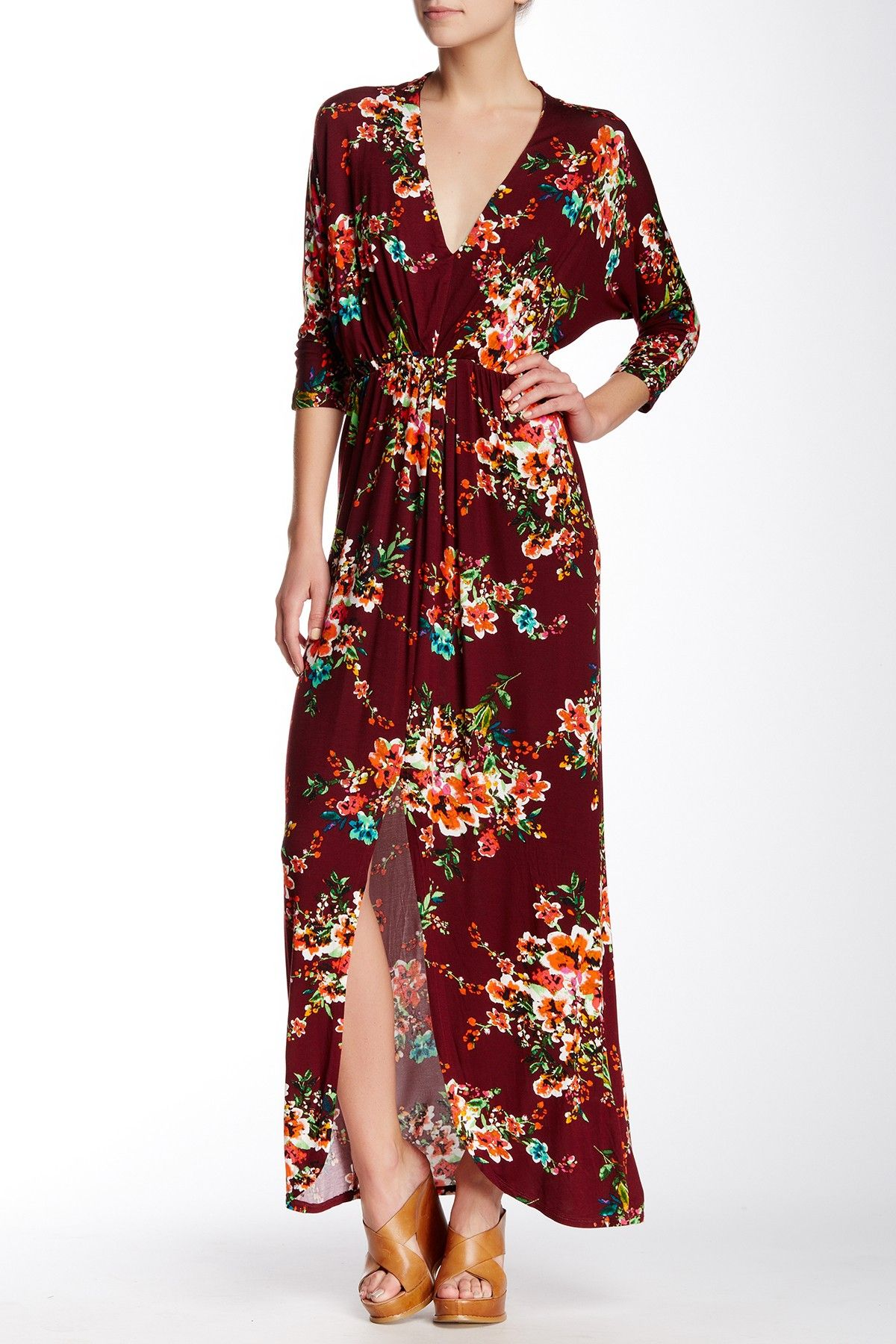 Dolman sleeve printed maxi dress by felicity and coco on