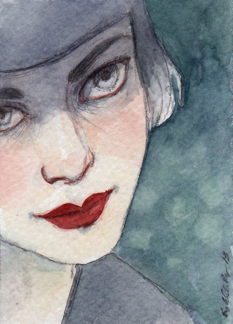 """""""Silver"""".  Graphite and watercolor on paper, 2013.  Amy Abshier-Reyes. #artdeco #portrait #painting #art"""