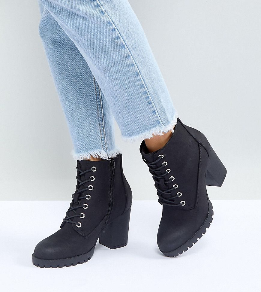 15141484ede8 New Look Wide Fit Lace Up Cleated Sole Heeled Ankle Boot in 2018 ...