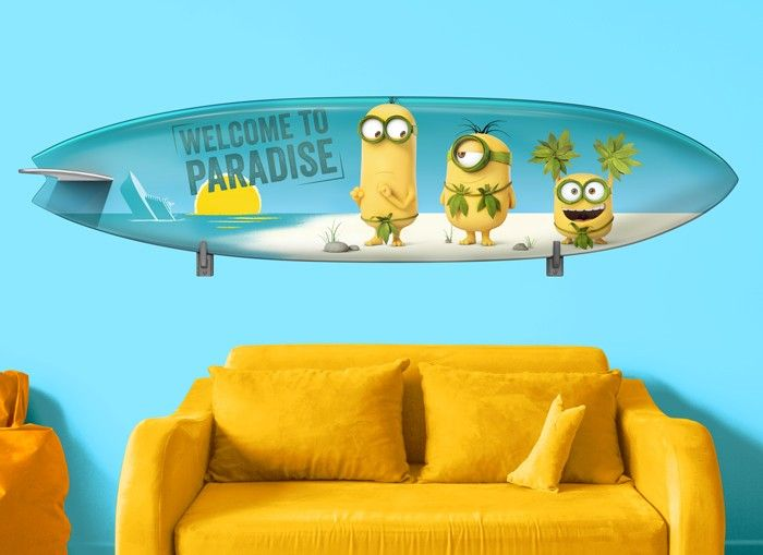 Welcome To Paradise Hang At The Beach Everyday With Your Favorite Minions With Our Exclusive Minions Surfboard Wall D Wall Graphics Wall Decals Surfboard Wall