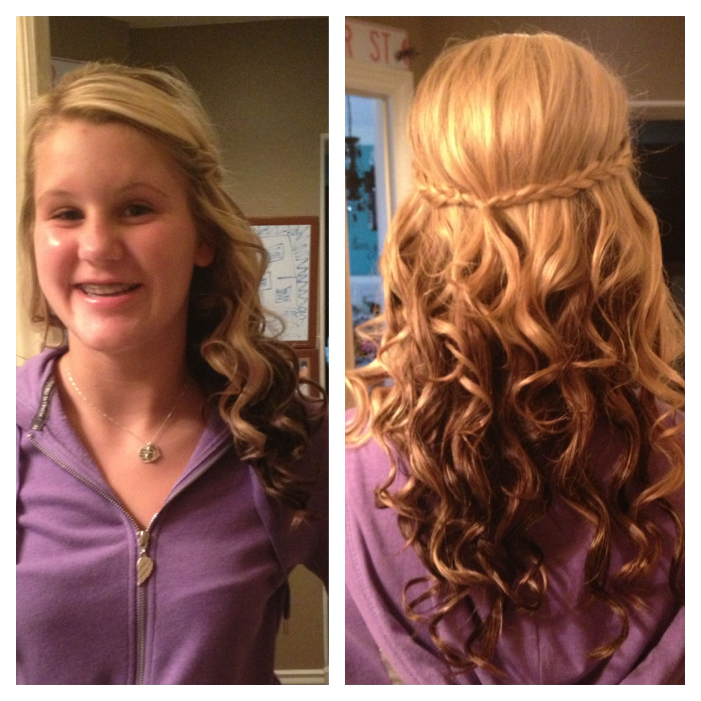 Half up half down curled with braid Hair Pinterest