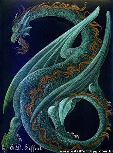 Dragon With Beard Blue/Brown Chinese Dra...