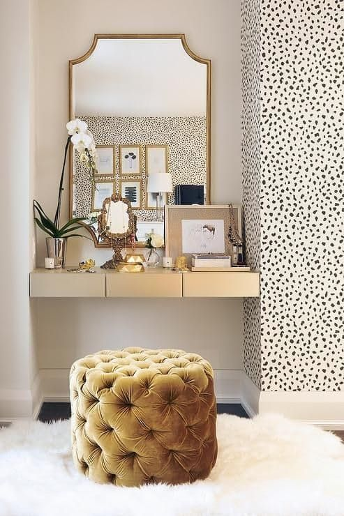 Turn Room Into Walk In Closet Vanity With Speckled Wallpaper