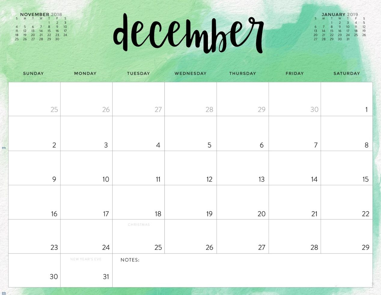 graphic regarding Calendar December Printable named Printable December 2018 Calendar Calendar 2018 December