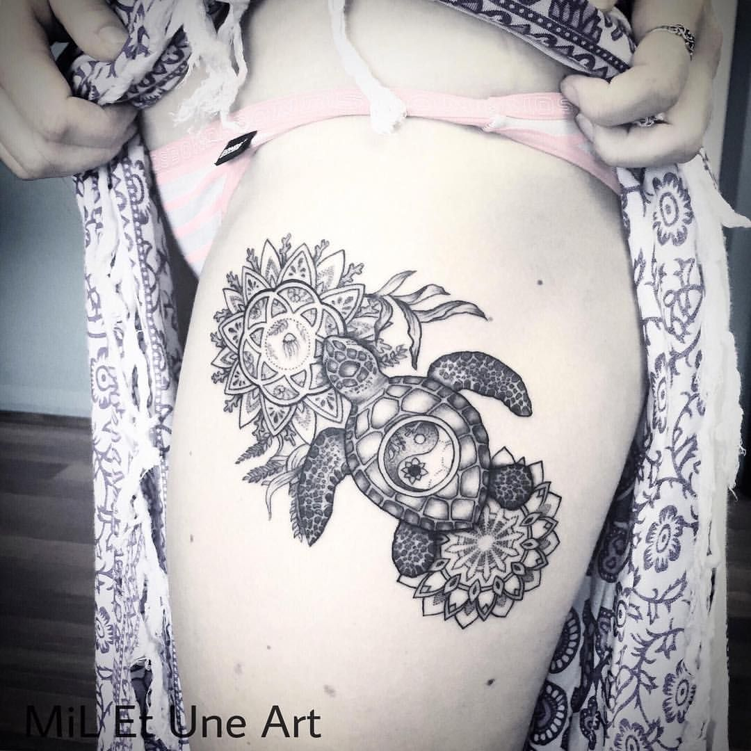 Thank You So Much Jasmine For Coming Down From Sydney To Get This Tattooed Miletune Turtle Tattoo Designs Thigh Tattoos Women Tattoo Designs
