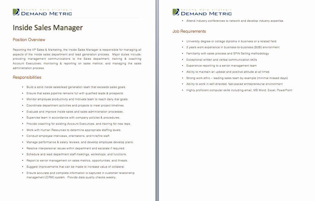 Inside Sales Job Description Resume Beautiful Inside Sales