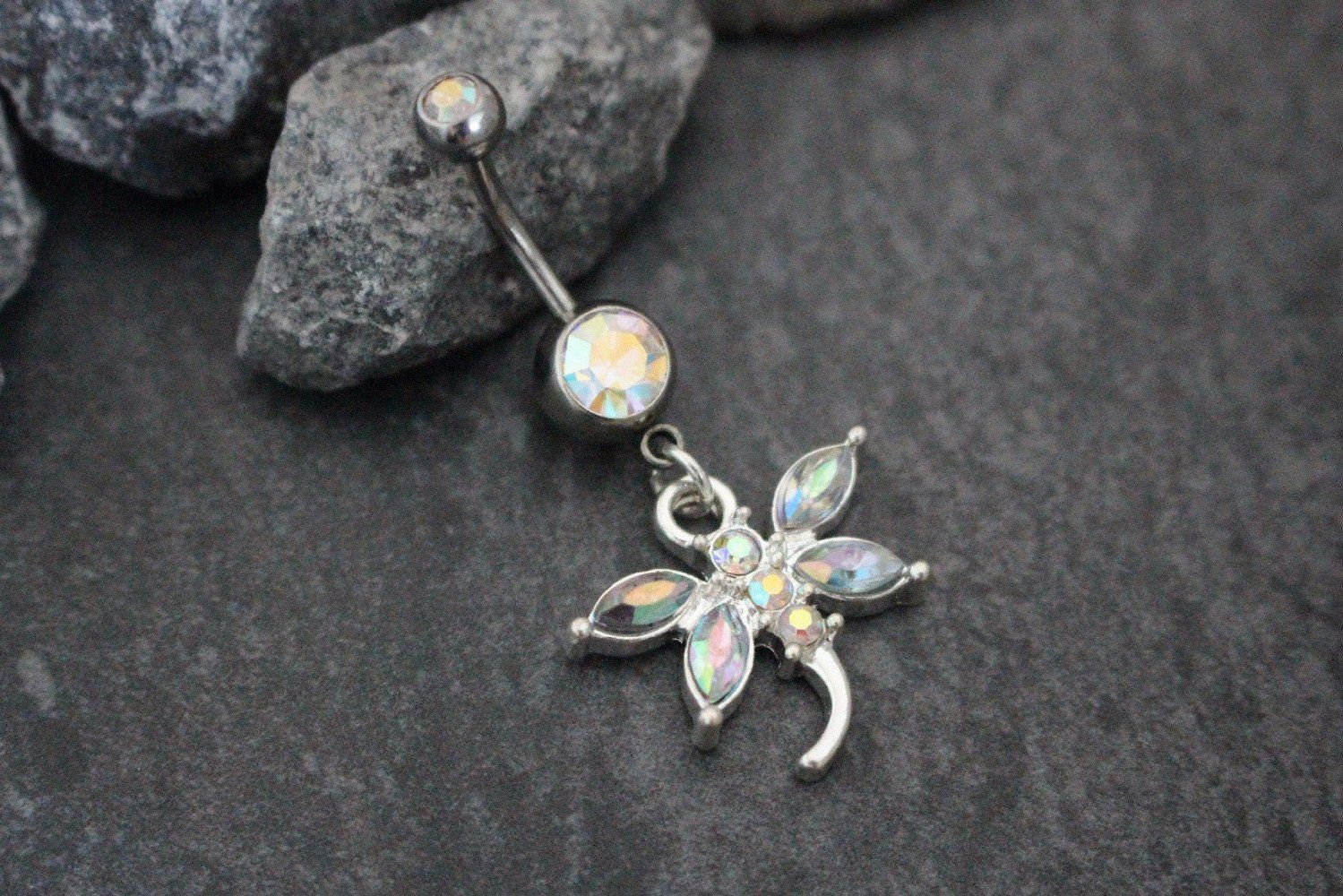 Gold belly piercing jewellery  Dragonfly Belly Ring  Dragonflies Navel and Belly button jewelry