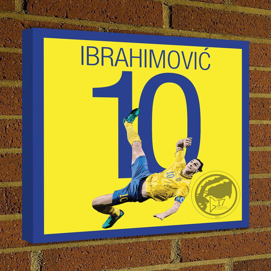 Square Canvas Wrap Soccer Art Print Zlatan Ibrahimović Canvas Print ...