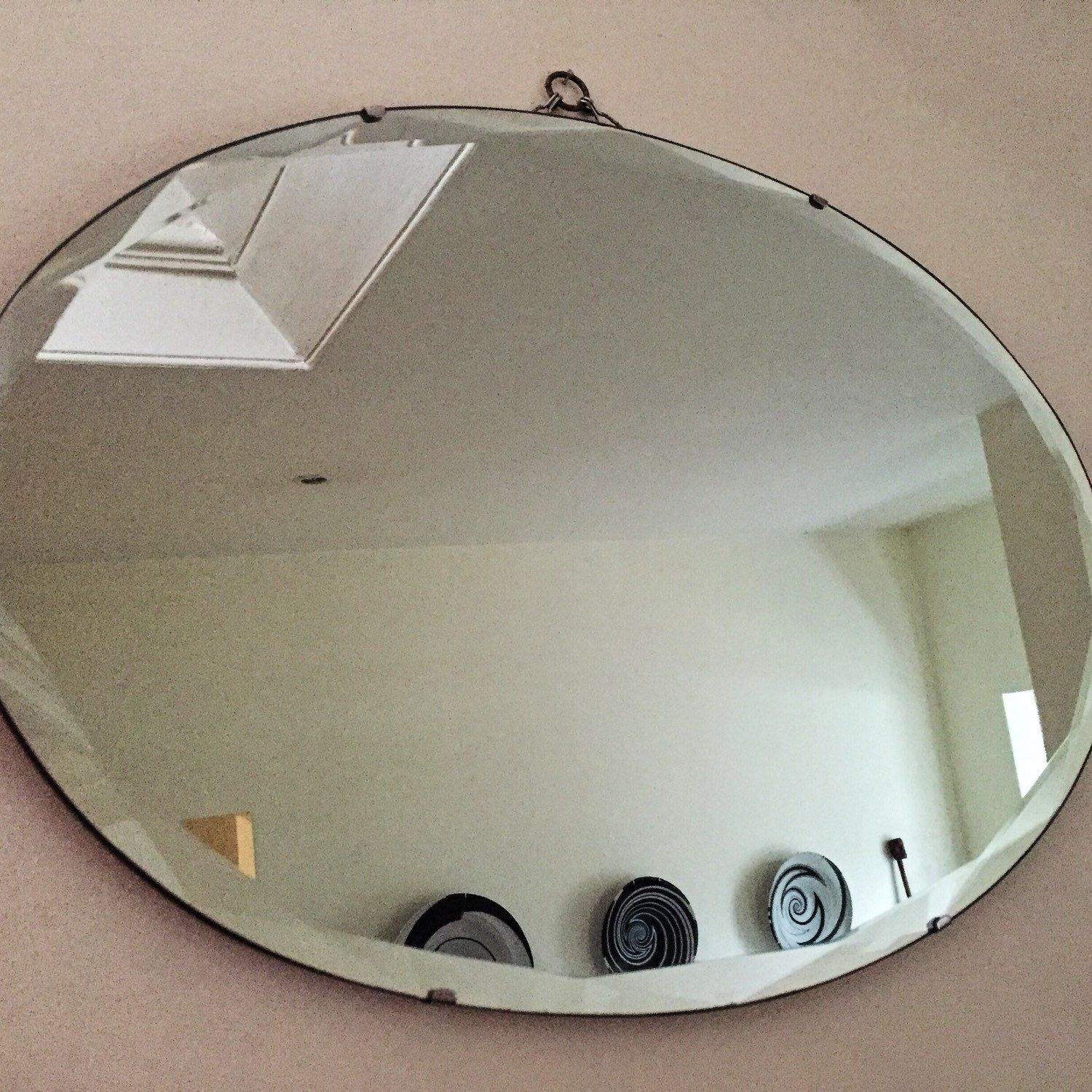 Beautiful Oval Art Deco Mirror With Bevelled Edges In Geometric