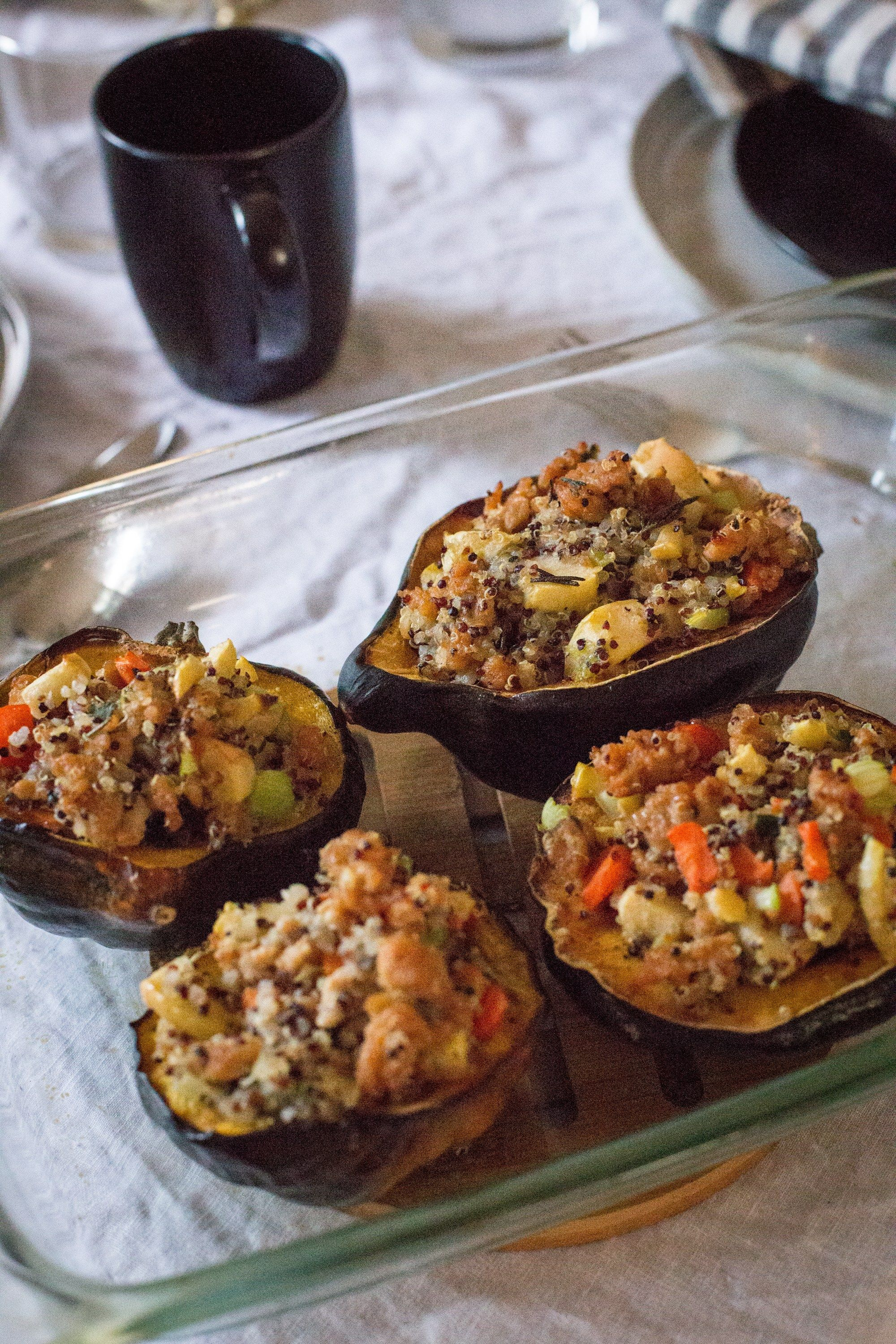 Stuffed Acorn Squash Acorn Squash Honeycrisp Apples Food