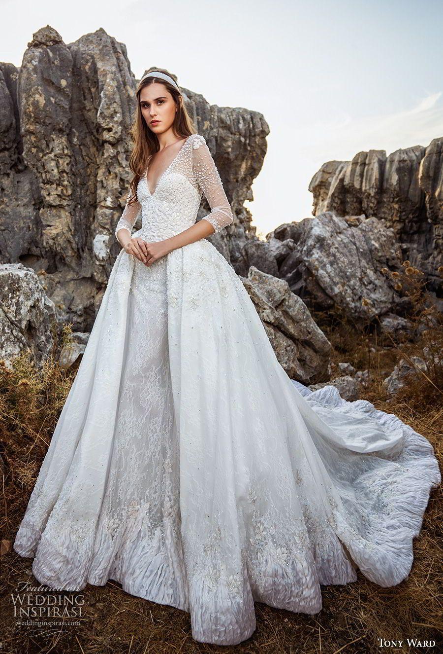 6a9ea71540 tony ward fall 2018 bridal three quarter sleeves v neck heavily embellished  bodice romantic princess ball gown a line wedding dress overskirt chapel  train ...