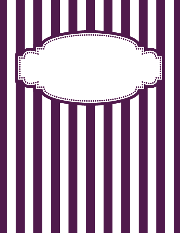 free printable purple and white striped binder cover
