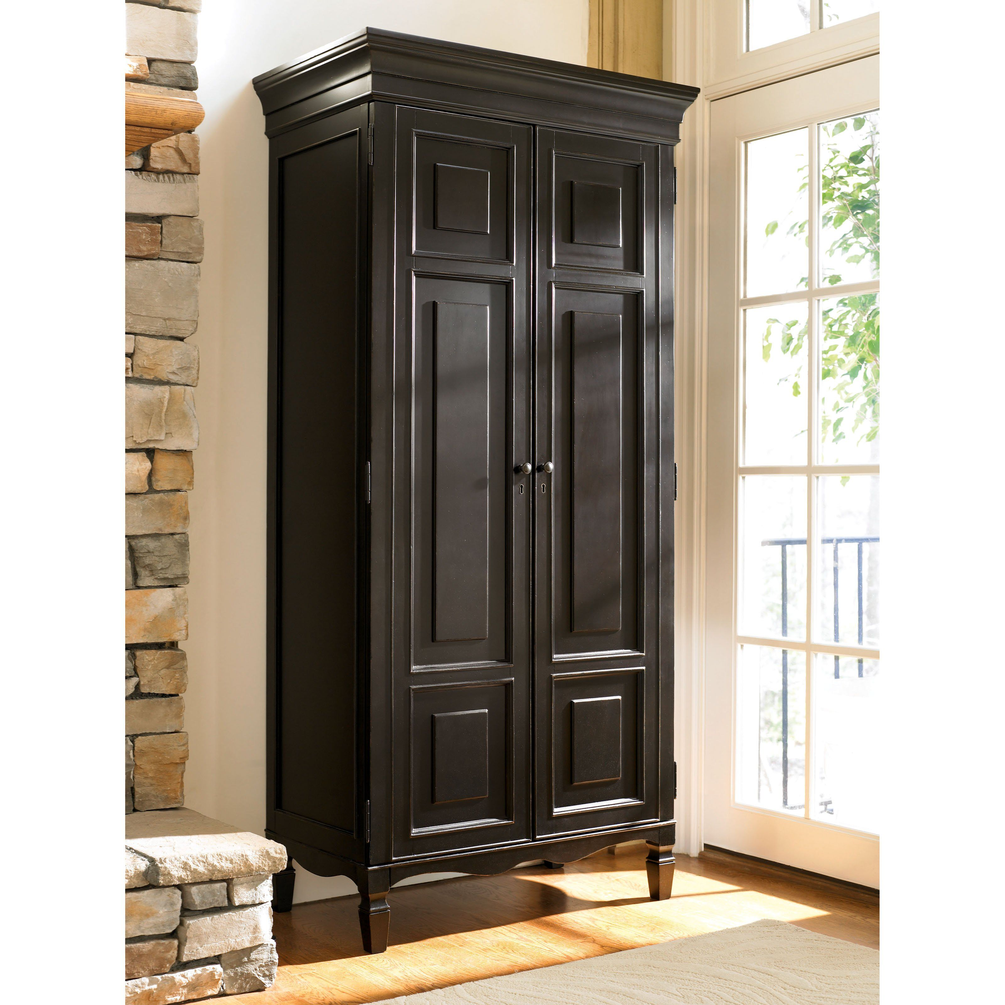 Summer Hill 2 Door Armoire Midnight Www Hayneedle Com Wood Storage Cabinets Tall Cabinet With Doors Wooden Storage Cabinet