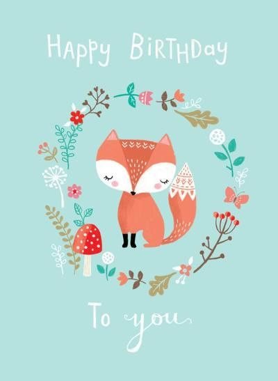 happy birthday fox las woodland fox butterfly mushroom flowers happy birthday | Happy  happy birthday fox