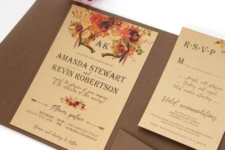 Rustic Floral Antlers Invitation Boho Wedding Invitation Dark