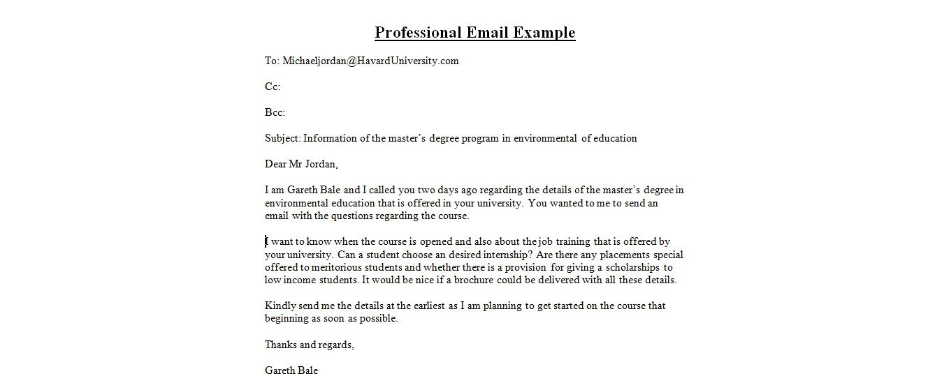 Professional Email Examples Email Format Template Business