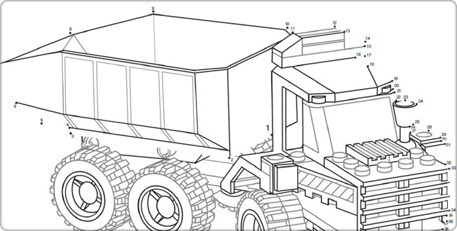 Dot-to-dot Lego Coloring Pages.
