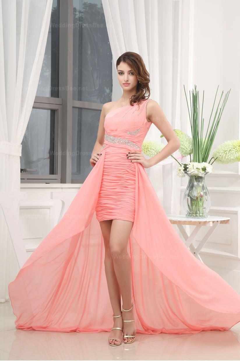 Graceful One Shoulder Ruched Bottom sequins High-Low Dress | Bridal ...