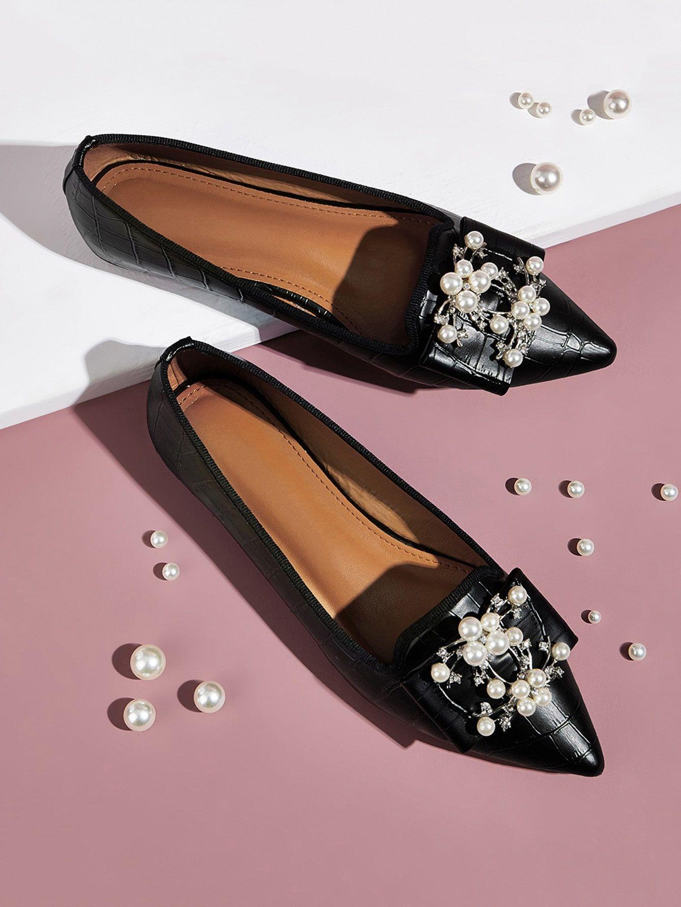 Point Toe Faux Pearl Decor Flats Sponsored Ad Faux Toe Point Loafers For Women Faux Pearl Flats