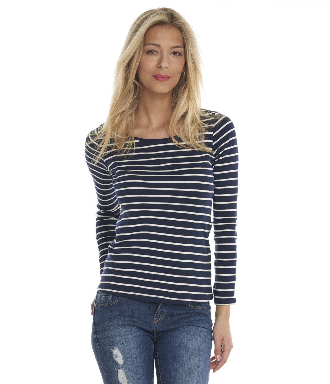 f253b569c6990 Vente T-shirt femme marinière Navy/craie TT2 - Tee shirt Camaieu. Ce ...
