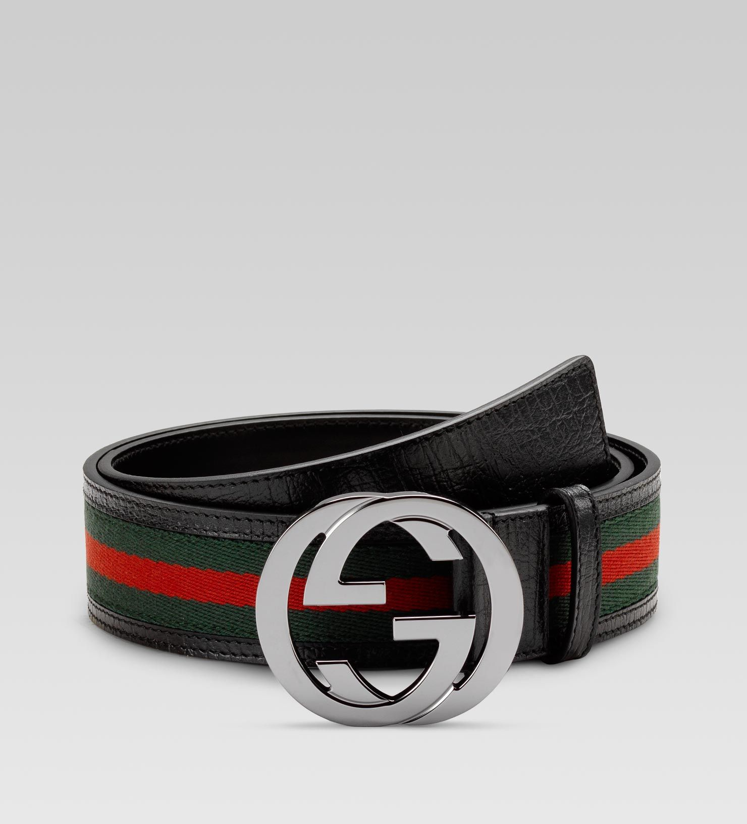 4d84ec4a73b belt  green red green signature web fabric with black leather trim. Gucci.