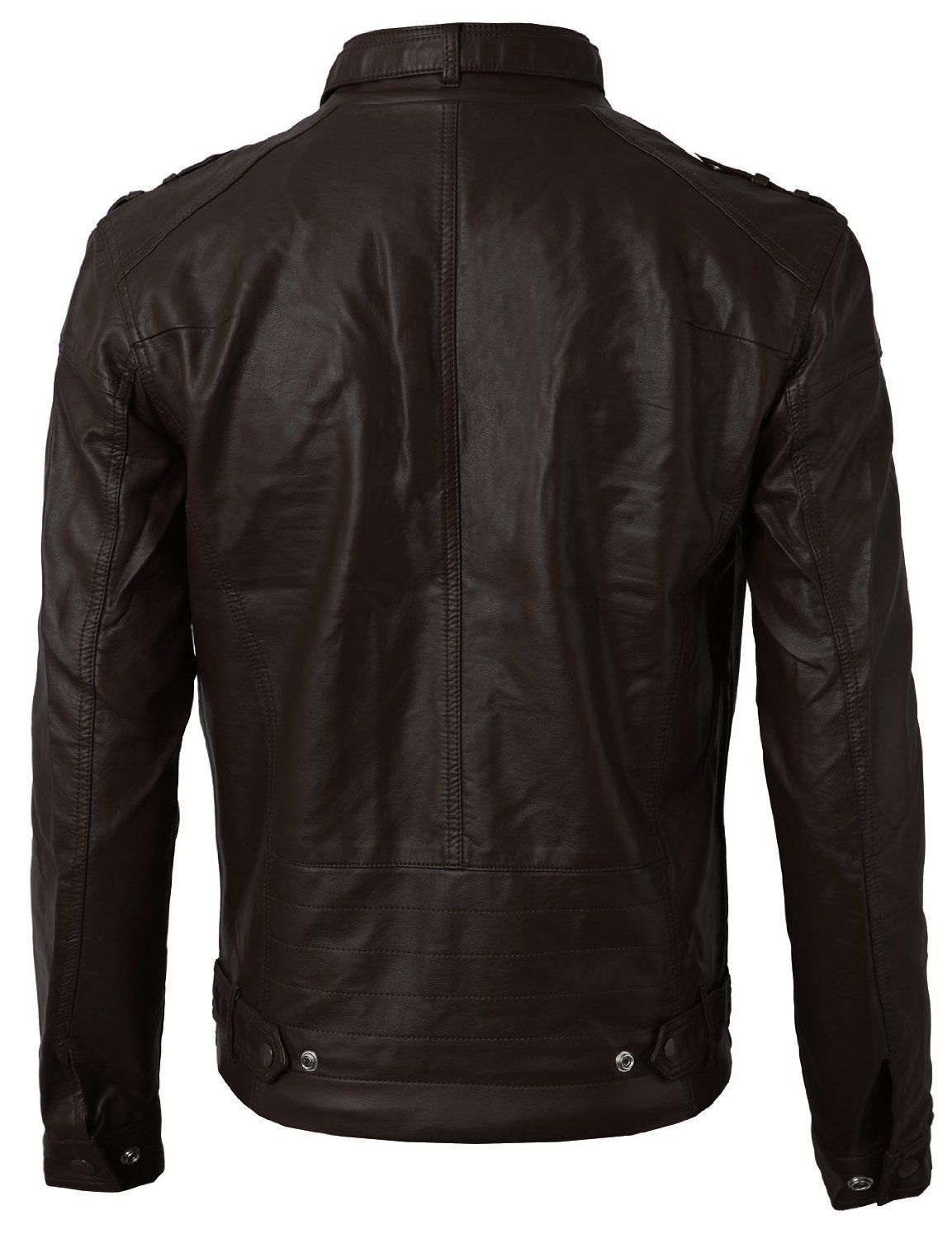 fa663cc41773 Amazon.com: H2H Men's Synthetic Leather Rider Jacket with Zippers At  Pocket: Clothing