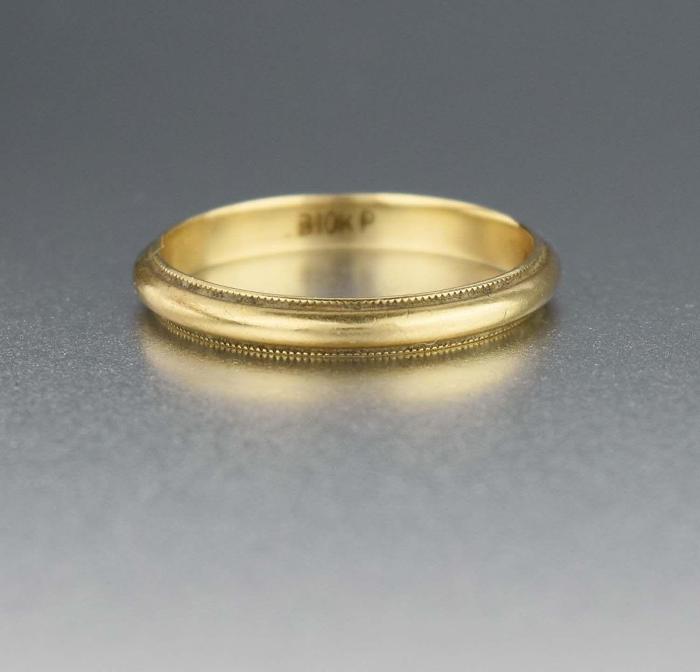 Gold Milgrain Eternity Wedding Band Ring 1920s Antique Wedding