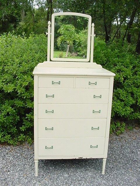 Antique 1930 S Simmons Metal Dresser With Mirror Chic Shabby French