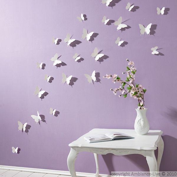 Kit De 12 Stickers Papillons 3d Blancs Decoration Murale Papillon Mur Papillon Chambre Papillon