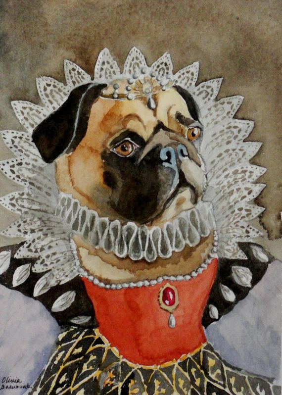 Original Watercolor Painting Of Your Unique Pet With A Costume