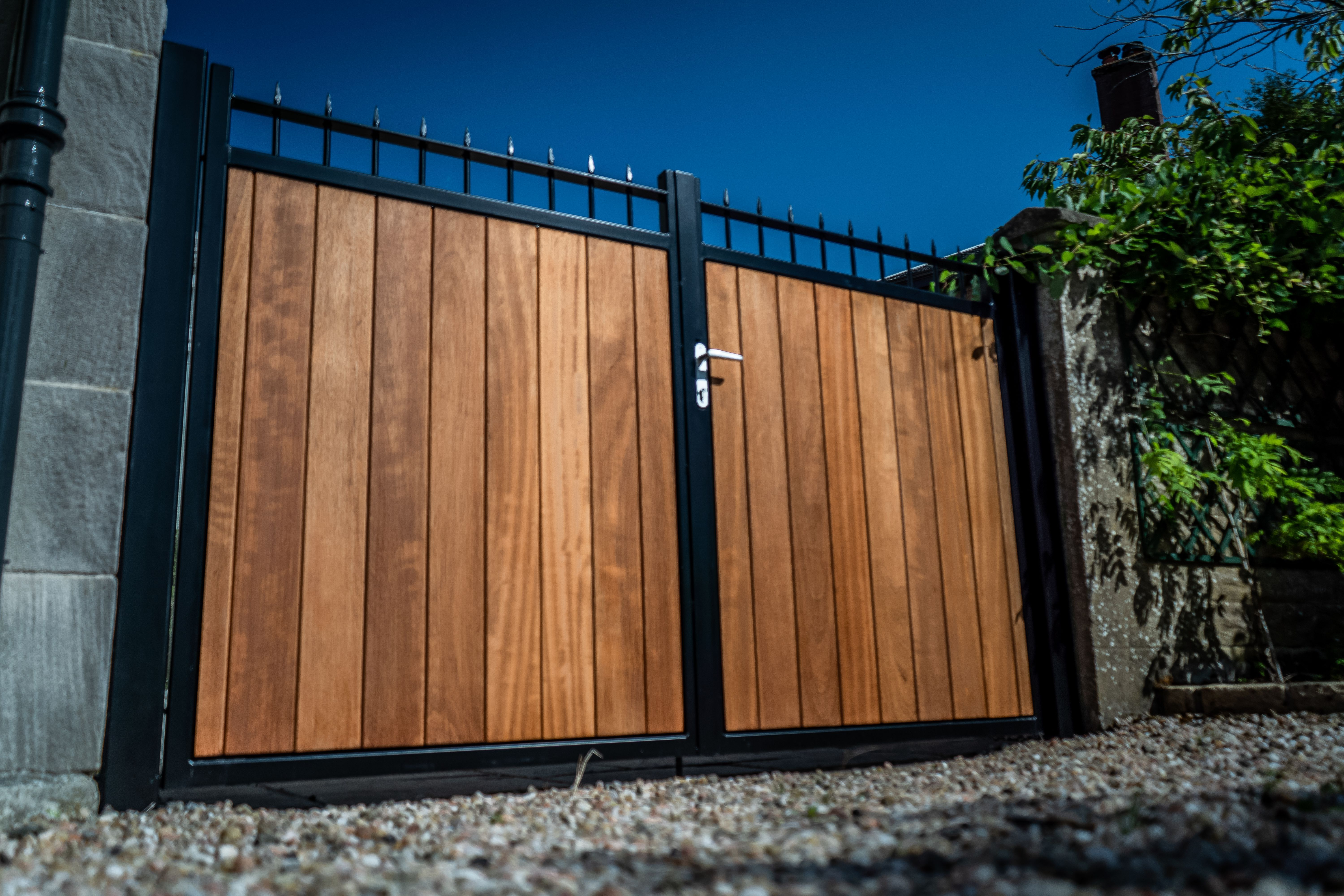 Hardwood Metal Framed Timber Iroko Driveway Gates Wooden Gates