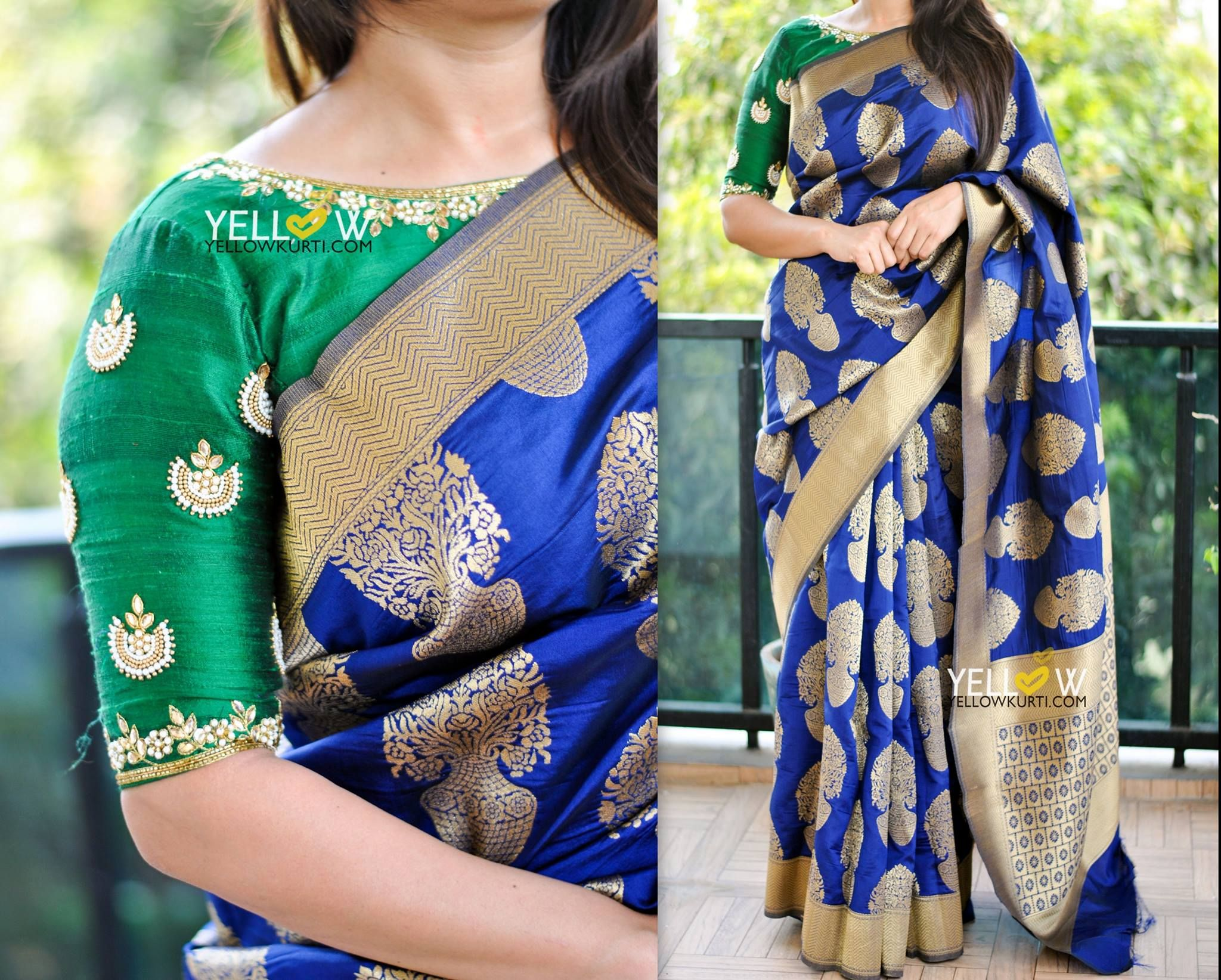 c0afae0110a72 Navy Blue Semi banarasi Saree .Blouse - Comes with a plain blue blouse  material with gold border as in the saree. Blouse shown in the picture can  be made on ...