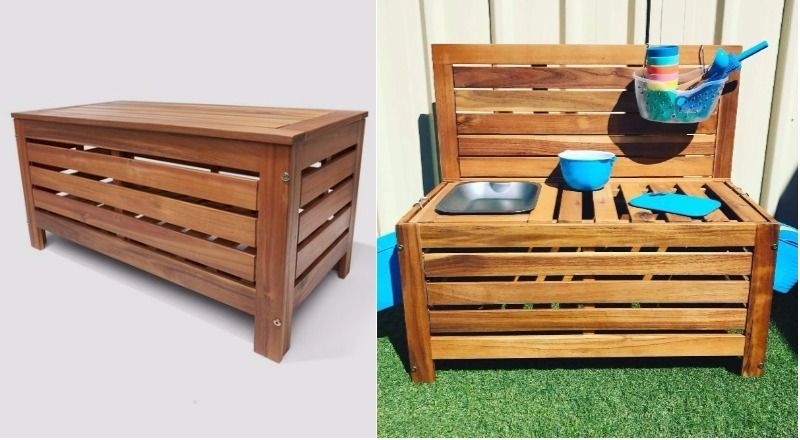 68c8236422cd clever Kmart hacks for kids - storage bench mud kitchen