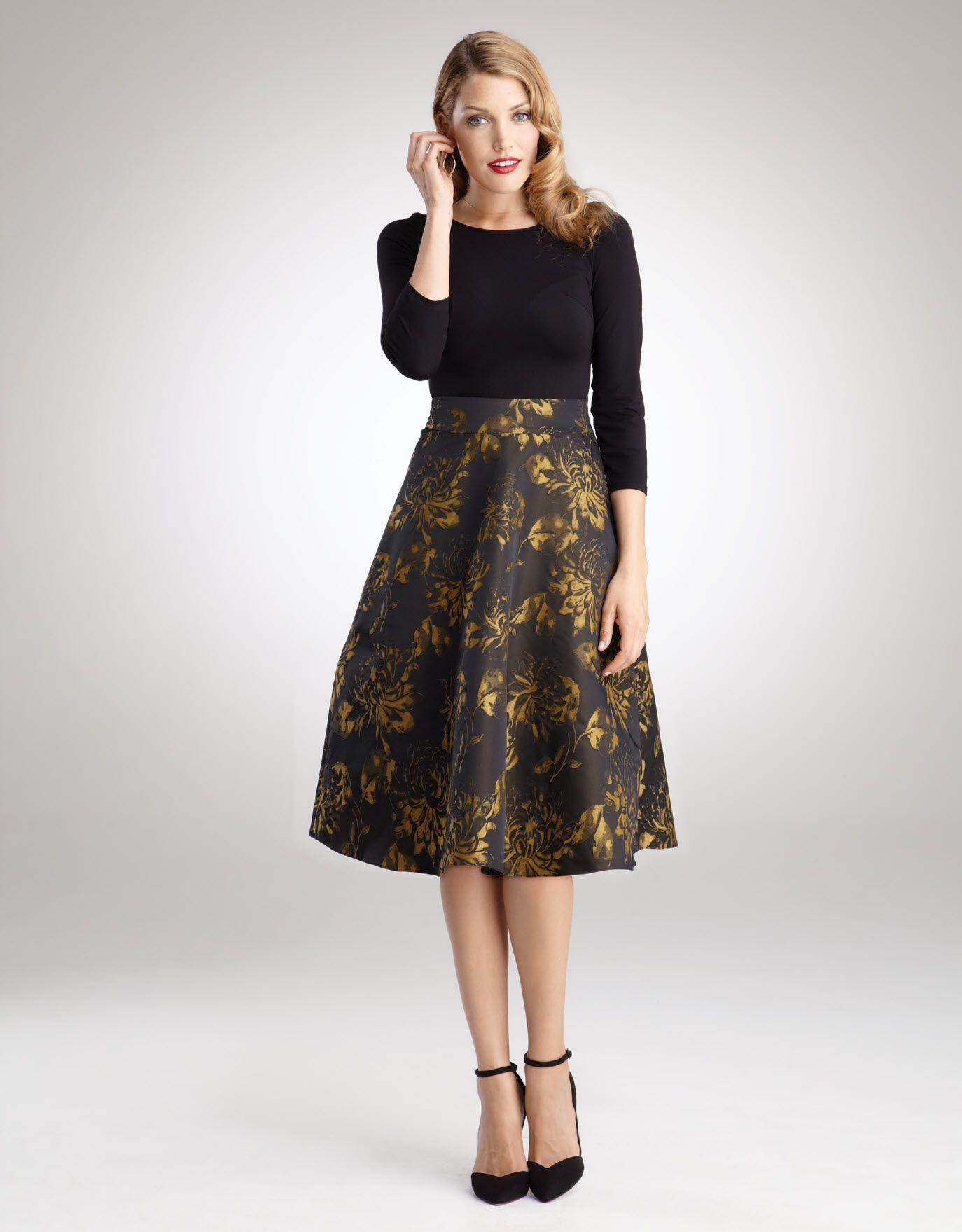 Taffeta Full Skirt Dress in Black Multi   Full skirt dress, Full ...