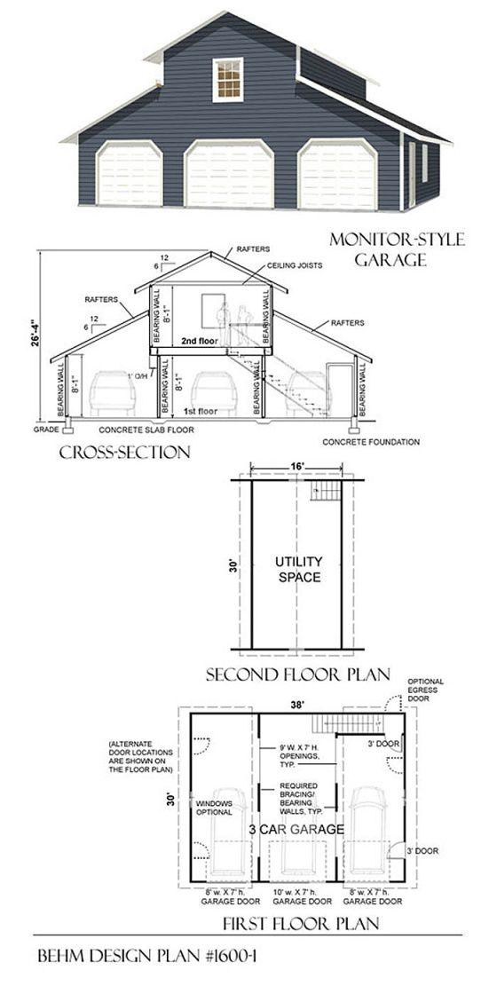 1292-1 38′ x 34′ | Garage plans with loft, Garage loft