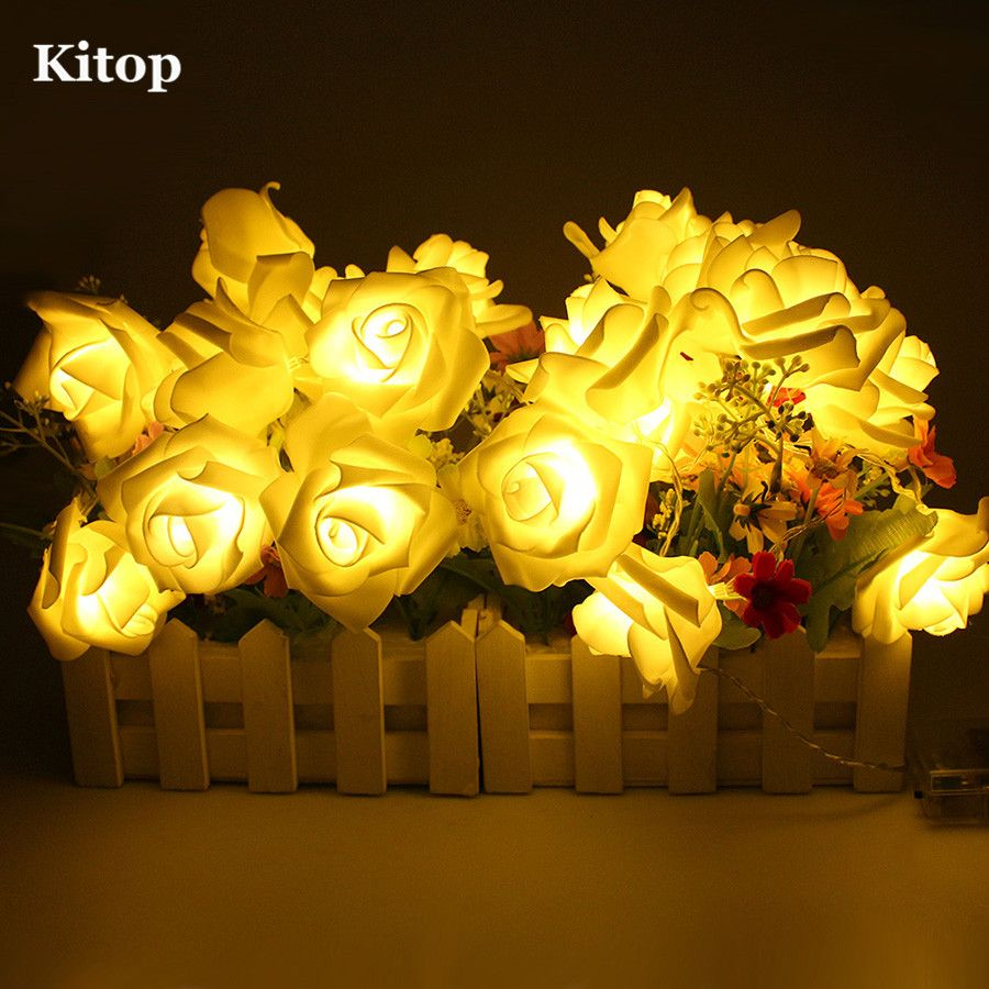 Fairy light wedding decoration ideas  Kitop M  LED Rose Flower String Lights Battery Operated Red Pink