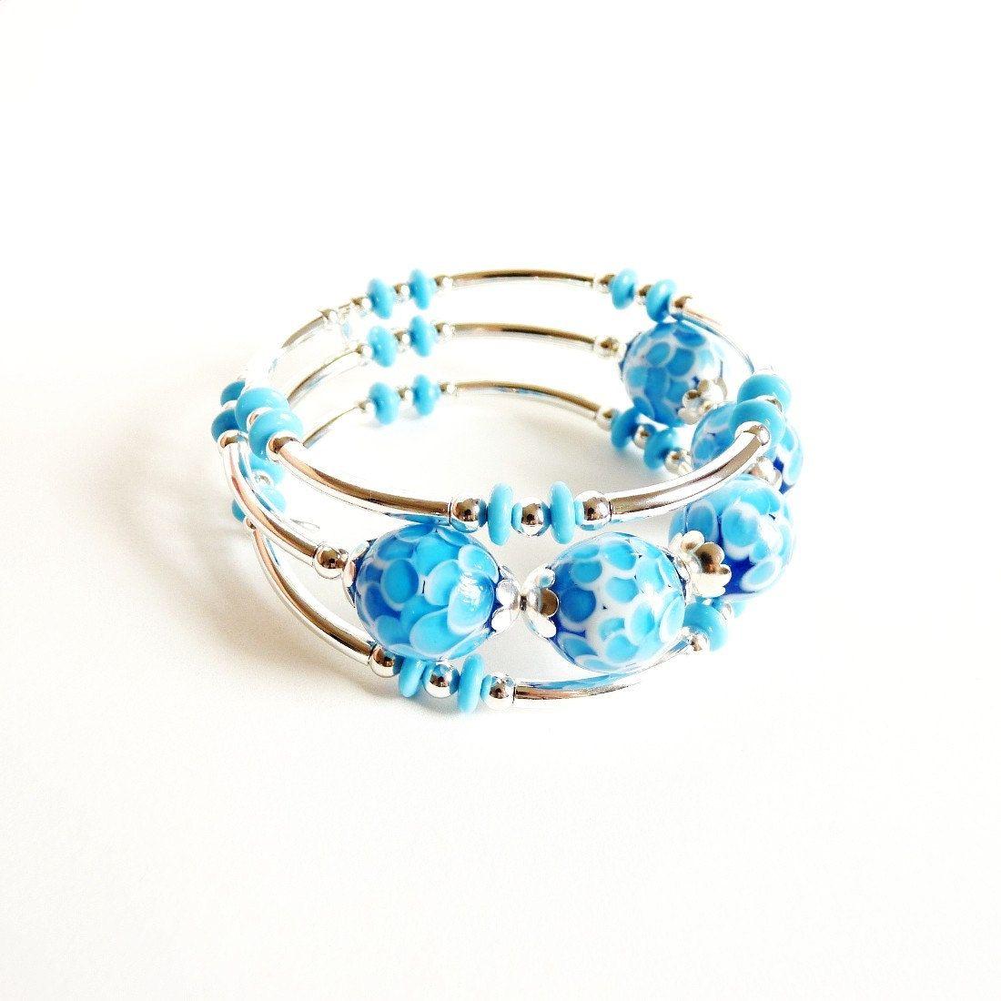 Silver, Lampwork Glass, Memory Wire Bracelet, Blue, Handmade Jewelry ...