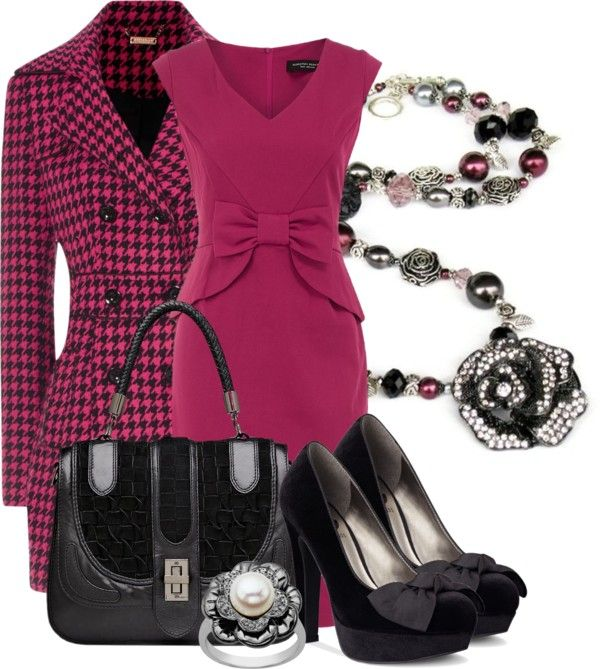 """""""Rasberry peplum bow dress"""" by aannggiiee ❤ liked on Polyvore"""