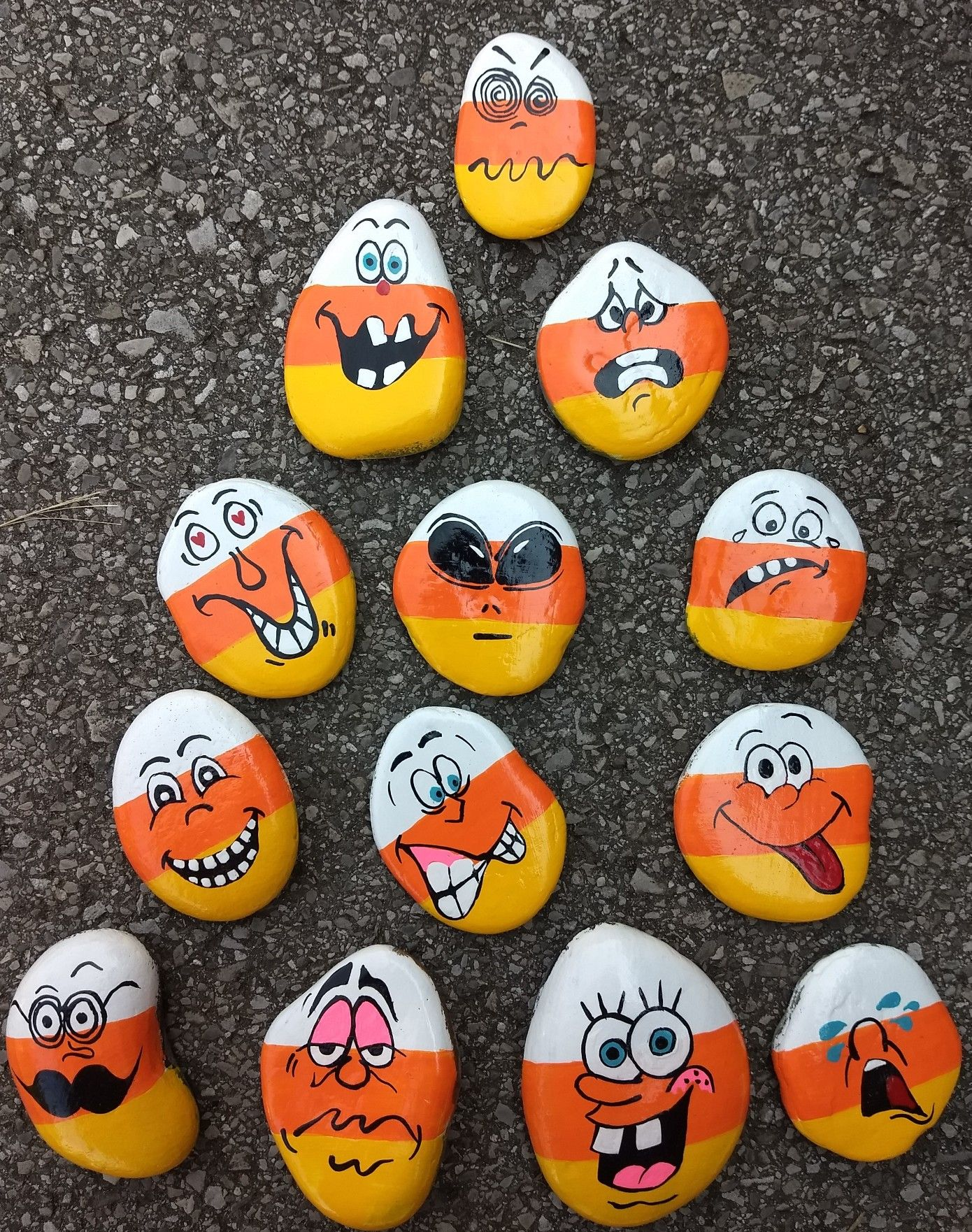 Simple Halloween Funny Faces Painted Rocks Painted Rocks Kids Painted Rocks Halloween Rocks